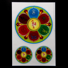 BUD004-11 Буддийские наклейки 1шт.х6см, 2шт.х2,7см Ом Мани Падме Хум