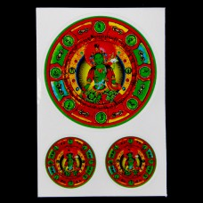 BUD004-12 Буддийские наклейки 1шт.х6см, 2шт.х2,7см Зелёный Будда