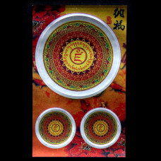 BUD004-14 Буддийские наклейки 1шт.х4,3см, 2шт.х2см, серебристые