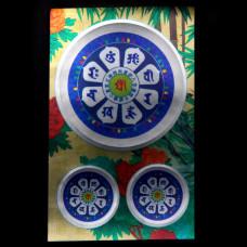 BUD004-16 Буддийские наклейки 1шт.х4,3см, 2шт.х2см, серебристые