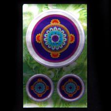 BUD004-17 Буддийские наклейки 1шт.х4,3см, 2шт.х2см, серебристые
