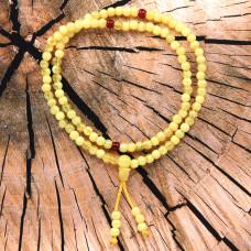 CH018 Чётки буддийские 108 бусин d.6мм, акрил, под кость, жёлтые