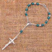 CH025 Христианские чётки-браслет с распятием и Девой Марией пластик, металл
