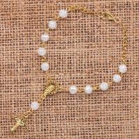 CH026 Христианские чётки-браслет с распятием и Девой Марией 6мм пластик, металл