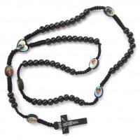 CH027-1 Христианские чётки 8мм с плетёным шнуром, дерево, цвет чёрный
