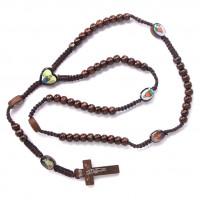 CH027-2 Христианские чётки 8мм с плетёным шнуром, дерево, цвет коричневый