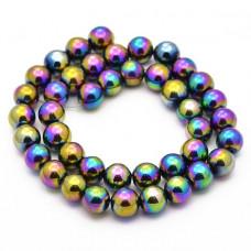 FB10-034 Бусины Гематит (не магнитный) 10мм на нити, цвет радужный