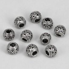 FBE0001S Бусины для европейских браслетов Шар Пацифик 11мм, 10 шт., цвет серебр.