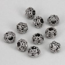FBE0003S Бусины для европейских браслетов Шар 11мм, 10 шт., цвет серебр.
