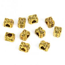 FBE0004G Бусины для европейских браслетов Сова 11мм, 10 шт., цвет золот.