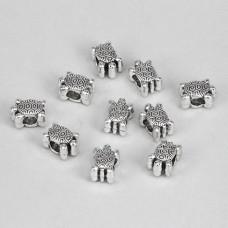 FBE0005S Бусины для европейских браслетов Черепаха 12мм, 10 шт., цвет серебр.