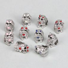 FBE0008S Бусины для европейских браслетов Манеки-Неко 11мм, 10 шт., цвет серебр.