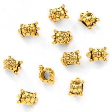 FBE0012G-10 Бусины для европейских браслетов Черепаха 12х7мм, 10шт, цвет золот.