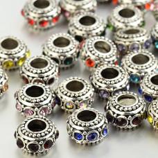 FBE0013 Бусина для европейского браслета в тибетском стиле со стразами ~10-12x6мм, отв.4,5мм, 1 шт., цвет в ассорт.