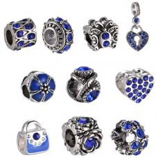 FBE0015 Набор из 10 бусин для европейских браслетов с эмалью и стразами, отверстие 4,5-5мм, цвет синий