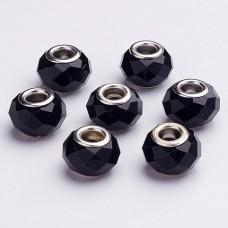 FBE0021 Стеклянная гранёная бусина для европейского браслета 14х9мм, отверстие 5мм, 1 шт., цвет чёрный