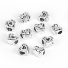 FBE1029S Бусины с большим отверстием 10шт. Сердце 11х11мм, отверстие 4мм, цвет серебр.