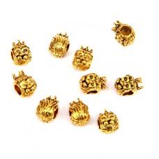 FBE1031G Бусины с большим отверстием 10шт. Король-Лев 8х11мм, отверстие 4мм, цвет золот.