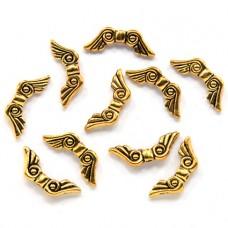 FBM0006G-10 Бусины металлические Крылья 21мм, отверстие 1мм, цвет золото, 10шт.