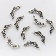 FBM0006S-10 Бусины металлические Крылья 21мм, отверстие 1мм, цвет серебро, 10шт.