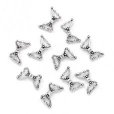 FBM0009S-10 Бусины металлические Крылья бабочки 22х7мм, отверстие 1мм, цвет серебр., 10шт.