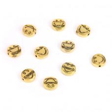 FBM1001G Бусины металлические 10шт. Смайлик 10мм, отверстие 1мм, цвет золот.