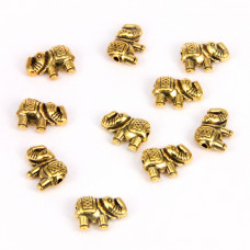 FBM1006G Бусины металлические 10шт. Слон 12х8мм, отверстие 1мм, цвет золот.