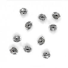 FBM1022S Бусины металлические 10шт. Бочонок 8х6мм, отверстие 1мм, цвет серебр.