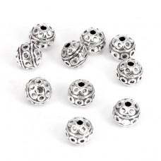 FBM1024S Бусины металлические 10шт. Шар d.8мм, отверстие 1мм, цвет серебр.