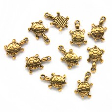 FP0005G-10 Подвески для бижутерии Черепаха 15мм, цвет золото, 10шт.
