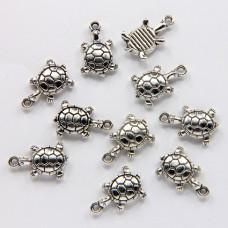 FP0005S-10 Подвески для бижутерии Черепаха 15мм, цвет серебро, 10шт.
