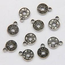 FP0030S-10 Подвески для бижутерии Китайская монетка 9мм, цвет серебро, 10шт.