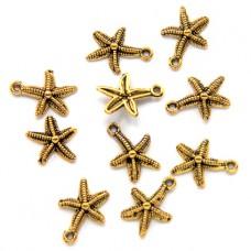 FP0039G-10 Подвески для бижутерии Морская звезда 12мм, цвет золото, 10шт.