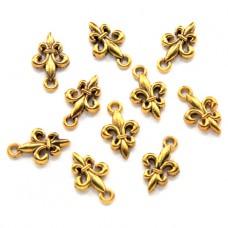 FP0042G-10 Подвески для бижутерии Французская лилия 13мм, цвет золото, 10шт.