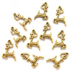 FP0044G-10 Подвески для бижутерии Северный олень 20мм, цвет золото, 10шт.