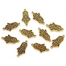 FP0054G-10 Подвески для браслетов Хамса 21мм, цвет золото, 10шт.
