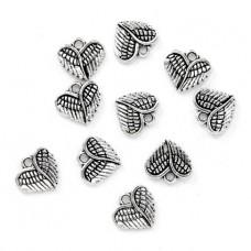 FP0078S-10 Подвески для бижутерии Сердце ангела 12х13мм, 10шт, цвет серебр.