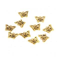 FP1002G Подвески для бижутерии 10шт. Бабочка 15х10мм цвет золот.