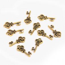 FP1007G Подвески для бижутерии 10шт. Ключ 9х20мм цвет золот.