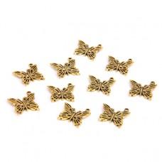 FP1014G Подвески для бижутерии 10шт. Бабочка 20х20мм цвет золот.