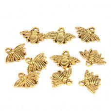 FP1017G Подвески для бижутерии 10шт. Пчела 22х11мм цвет золот.