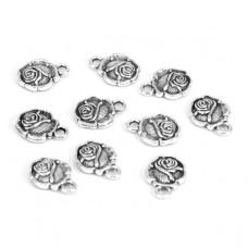 FP1027S Подвески для бижутерии 10шт. Роза 12х19мм цвет серебр.