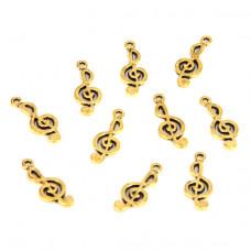 FP1028G Подвески для бижутерии 10шт. Скрипичный ключ 10х25мм цвет золот.
