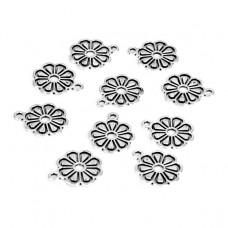 FP1046S Подвески для бижутерии 10шт. Цветок 14х17мм цвет серебр.