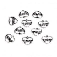 FP1061S Подвески для бижутерии 10шт. Сердце Love 15х14мм цвет серебр.