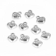 FP1068S Подвески для бижутерии 10шт. Сердце Love 10х12мм цвет серебр.