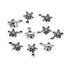 FP1069S Подвески для бижутерии 10шт. Цветок 10х13мм цвет серебр.