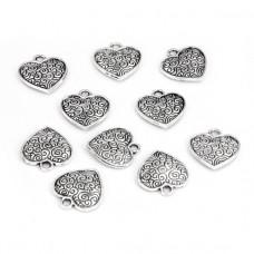 FP1070S Подвески для бижутерии 10шт. Сердце 15х15мм цвет серебр.
