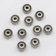 FR0002S-10g Бусины - разделители 8мм, отверстие 1мм, цвет серебро, 10гр, ~26шт.