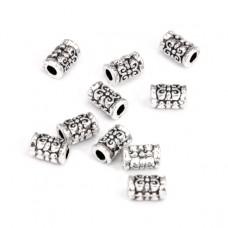 FR1014S Бусины-разделители 10шт. L.7мм, отверстие 1,5мм, цвет серебр.